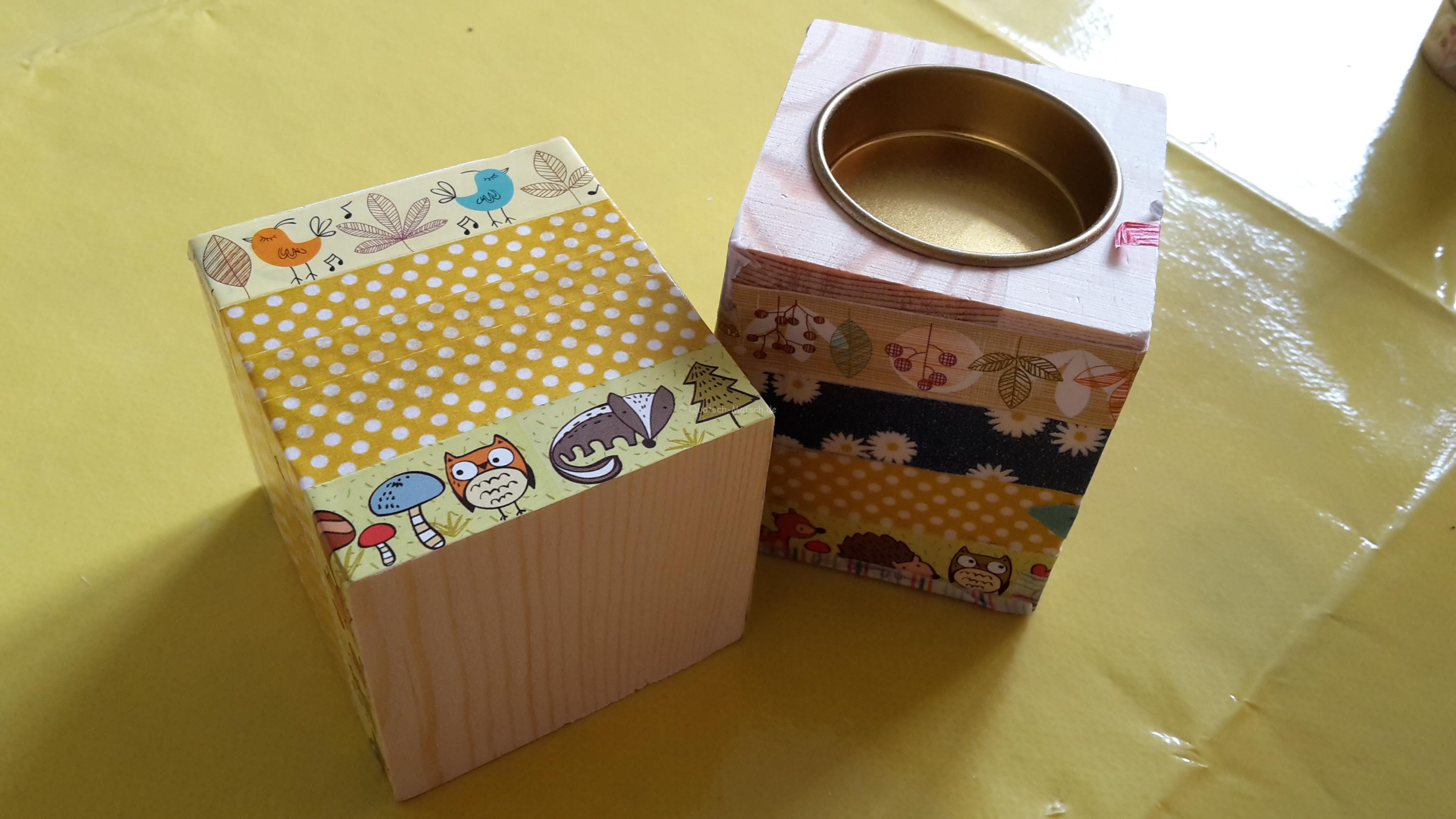 Teelichter mit Washi Tape