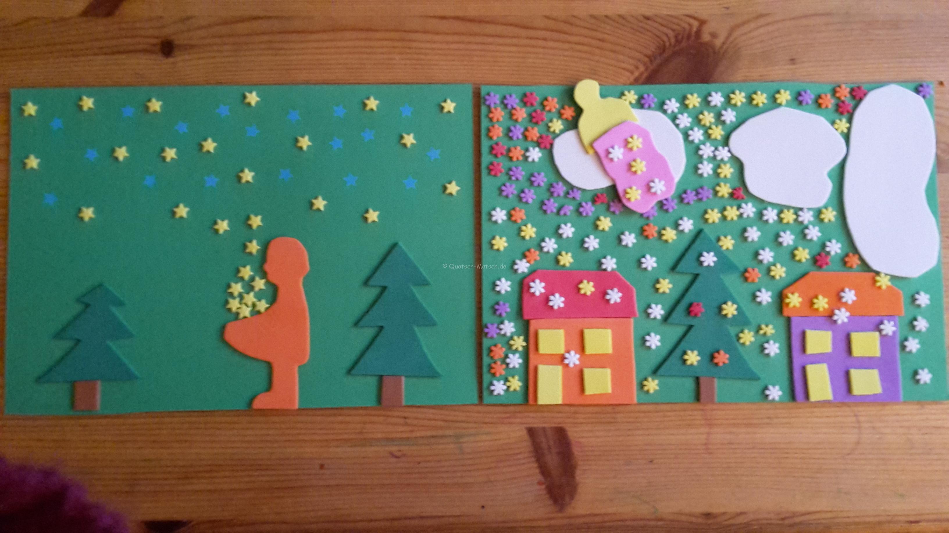 Märchenlandschaft aus Papier und Moosgummi