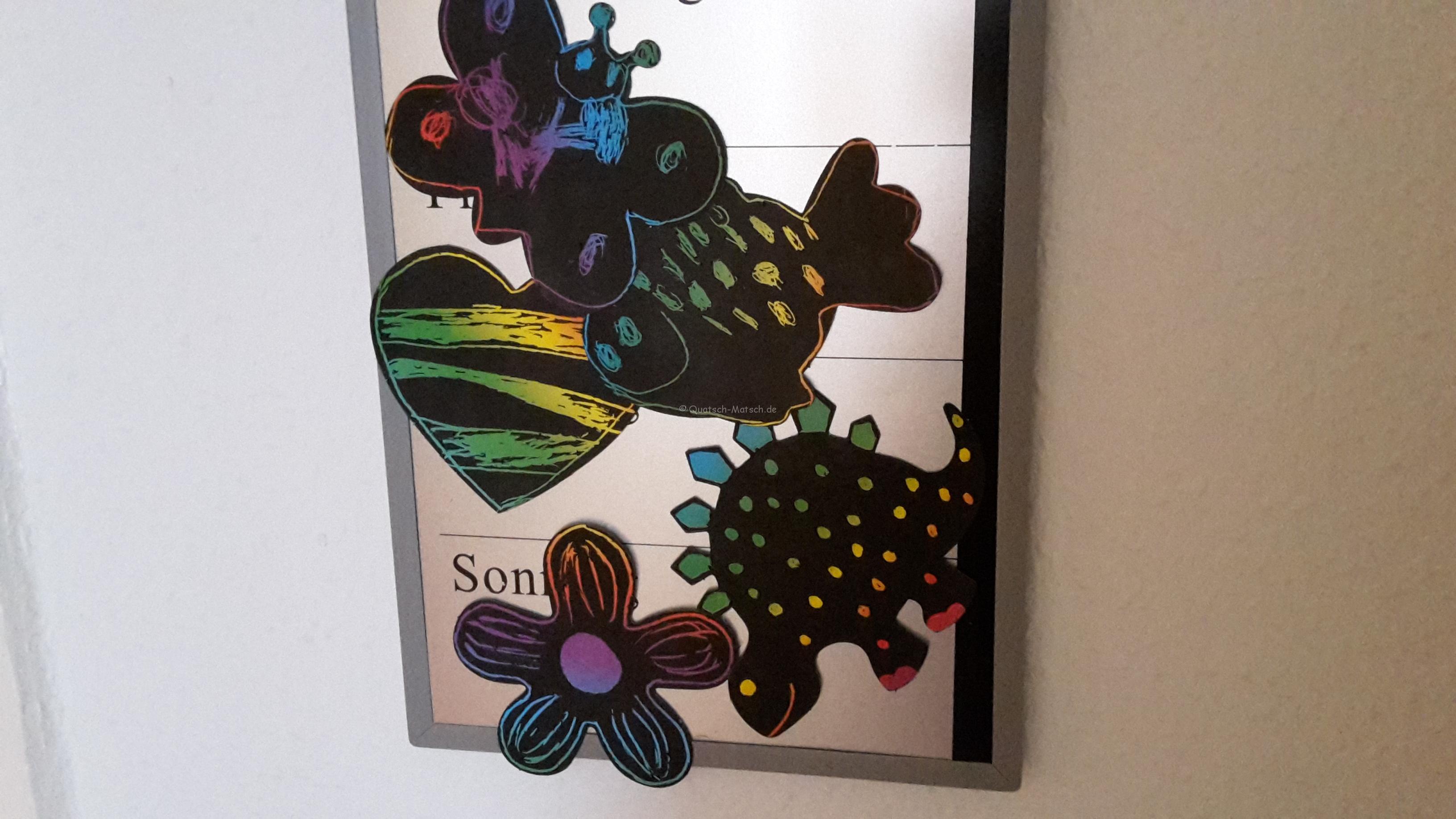 Bunte Kratzbilder Magnete für den Kühlschrank