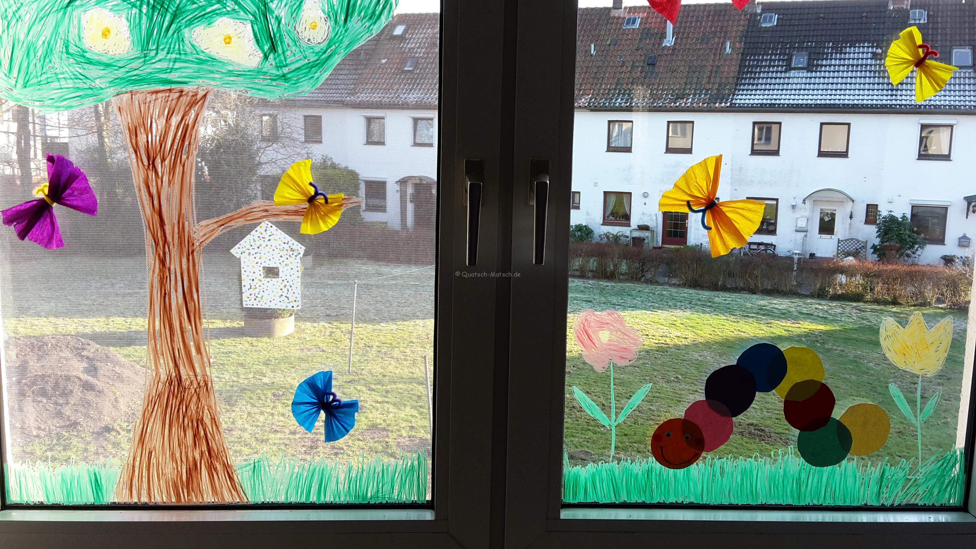 Frühlings Fensterdeko – Raupe Nimmersatt