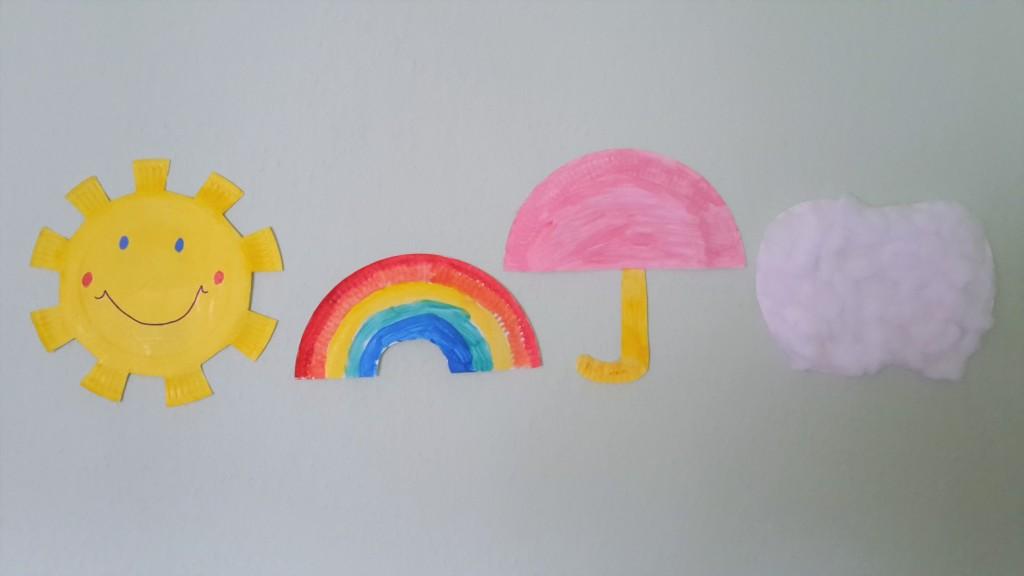 wetter pappteller sonne regenschirm basteln kinder regenbogen