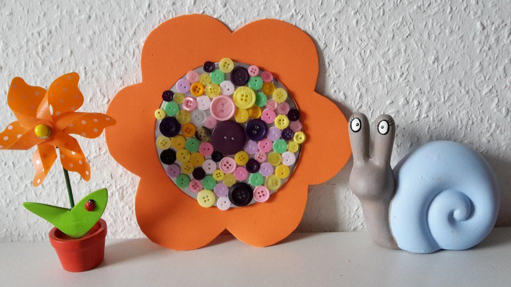 Blumen Knöpfe CD upcycling