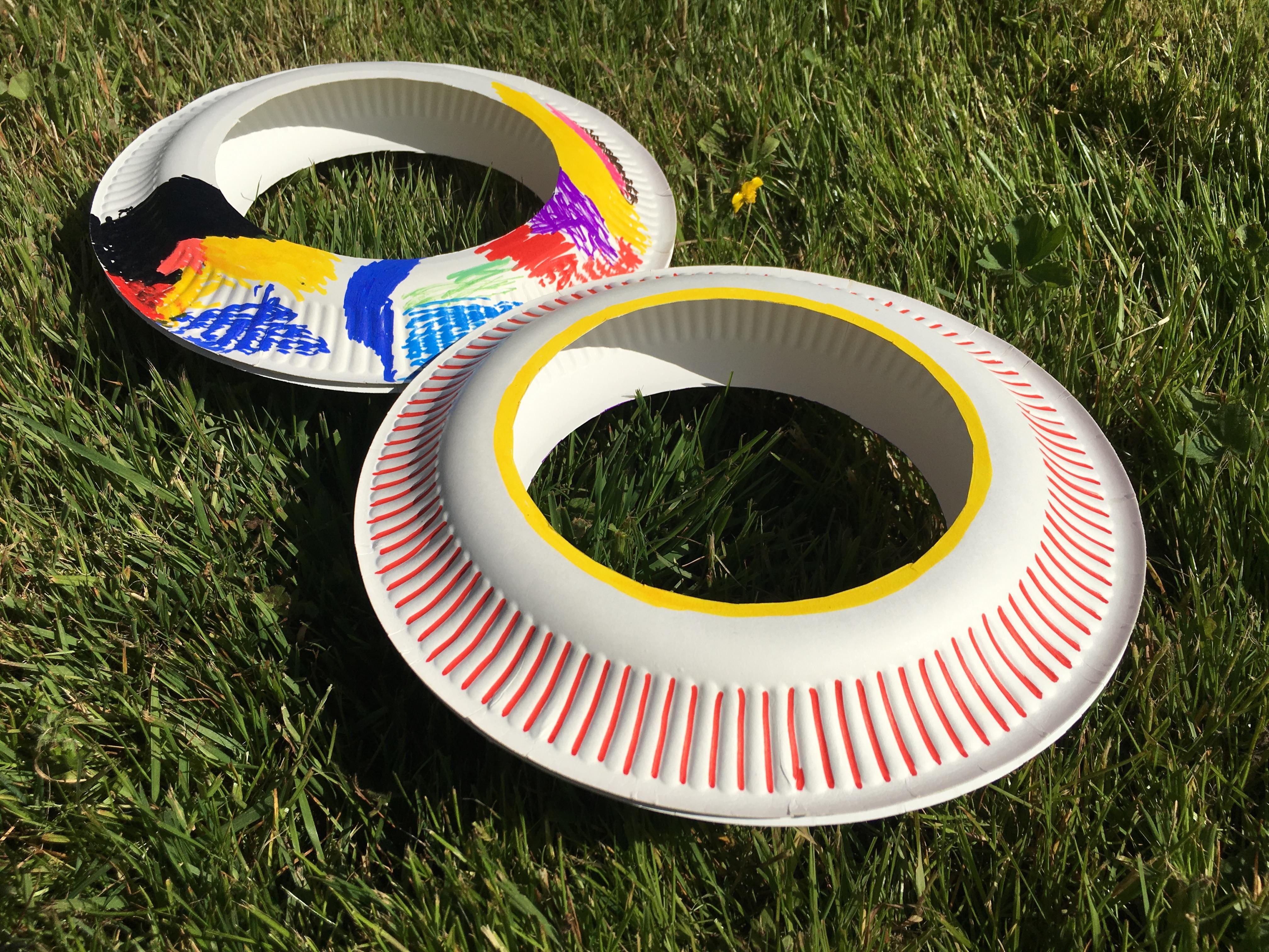 frisbee basteln pappteller sommer kinder
