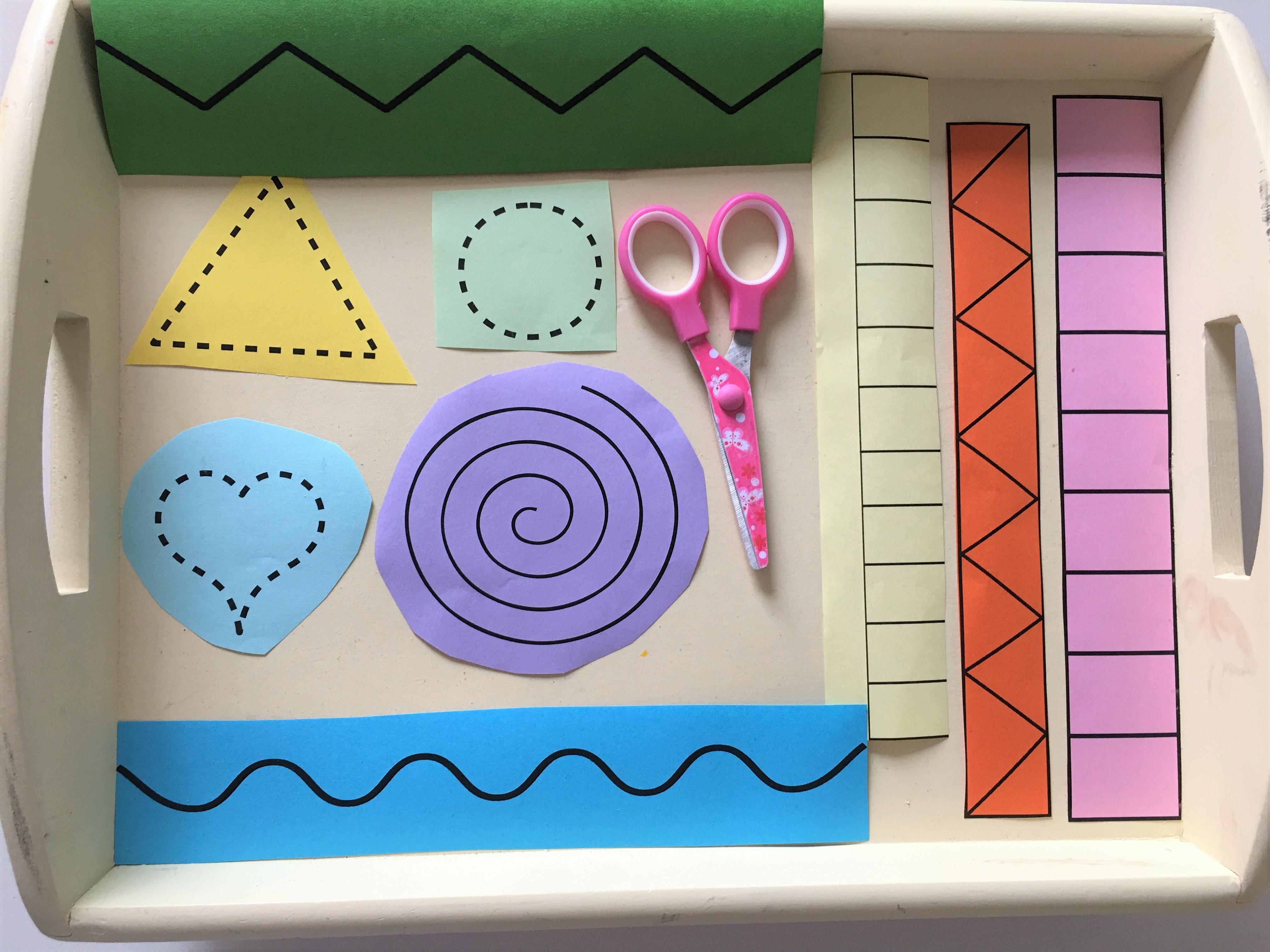 montessori übung schere papier vorschule
