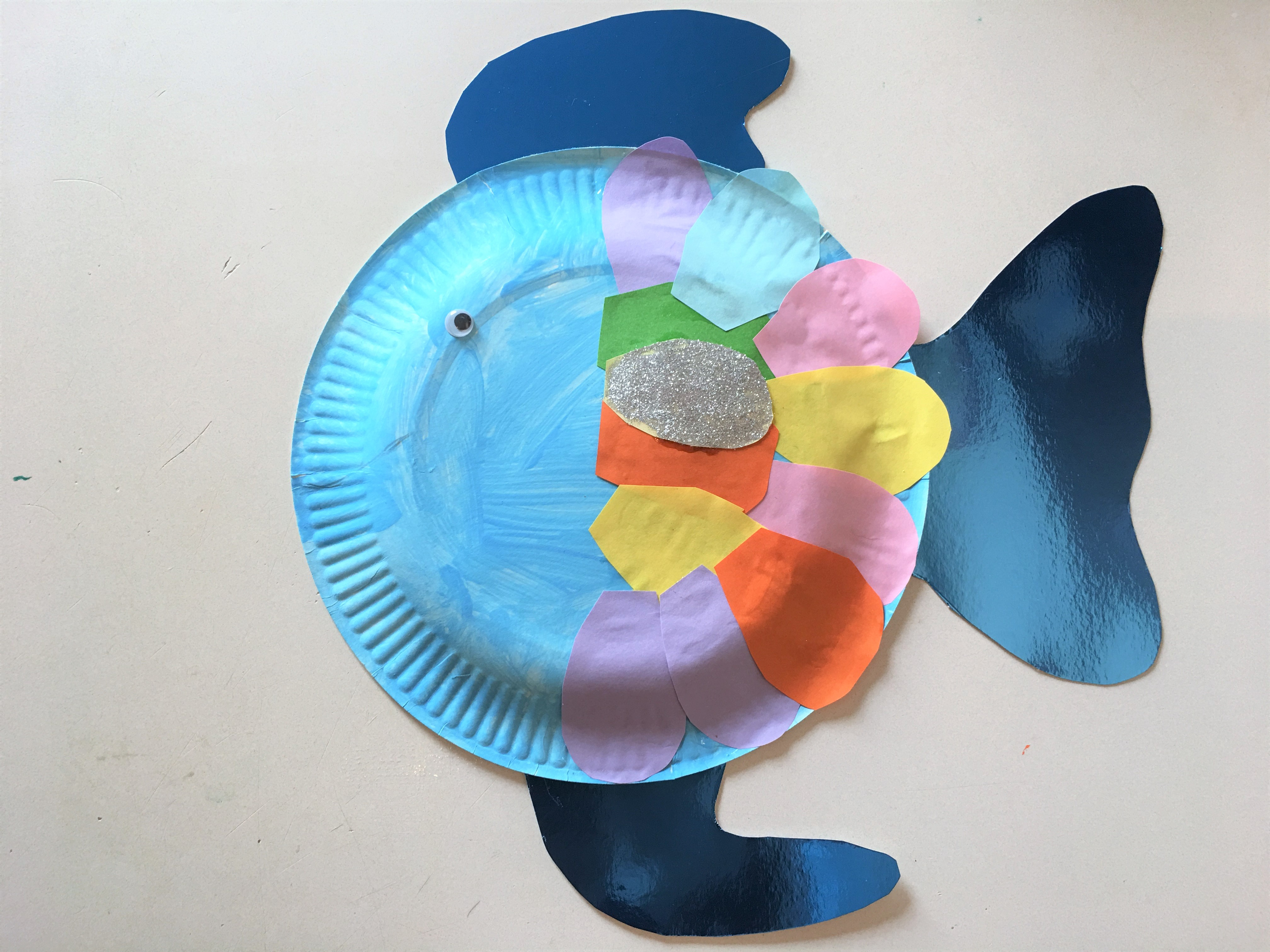 dae20470a7f462 Regenbogenfisch aus Pappteller mit Kindern basteln
