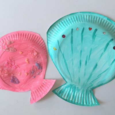 Muscheln aus Pappteller basteln