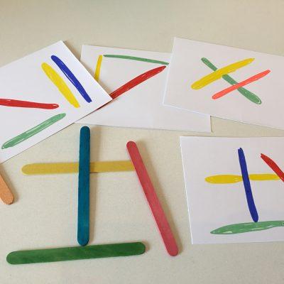 Legespiel aus Eisstäbchen – Montessori