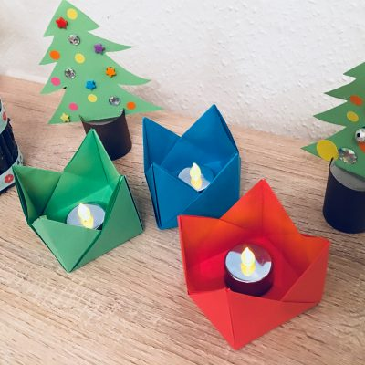 Teelichthalter aus Origami – Basteln mit Kindern