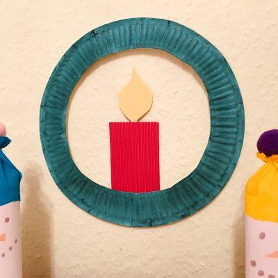 Kerzenkranz aus Pappteller – Basteln mit Kindern