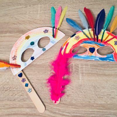 Faschingsmasken aus Pappteller – Basteln mit Kindern