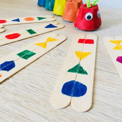 Formen finden mit Eisstielen – Mit Kindern spielen
