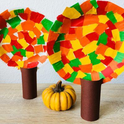 Herbstbäume aus Pappteller – Basteln mit Kindern
