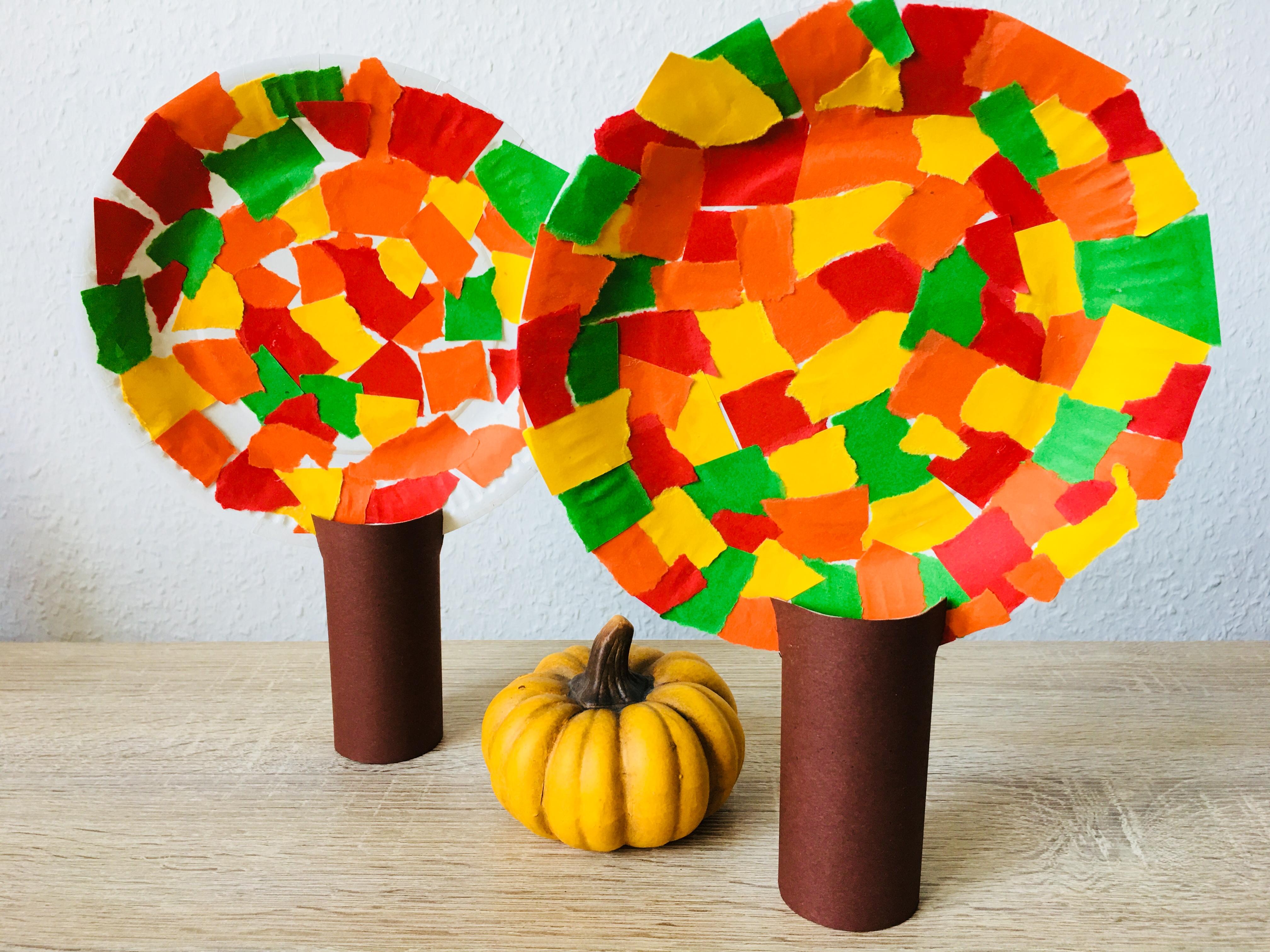 Herbstbäume Aus Pappteller Basteln Mit Kindern Der