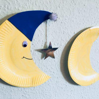 Einen Mond aus Pappteller mit Kindern basteln