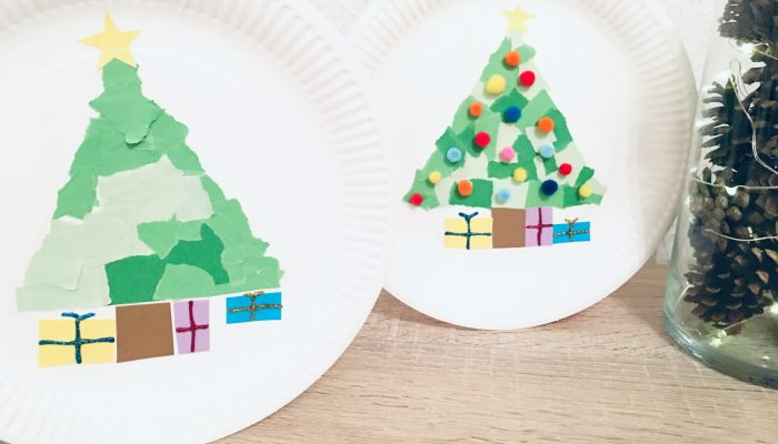 Weihnachtsbaum auf Pappteller – Basteln mit Kindern