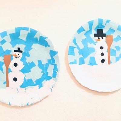 Winterbild aus Pappteller – Basteln im Winter mit Kindern