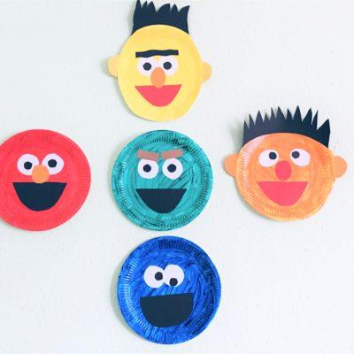 Sesamstrasse aus Pappteller – Basteln mit Kindern
