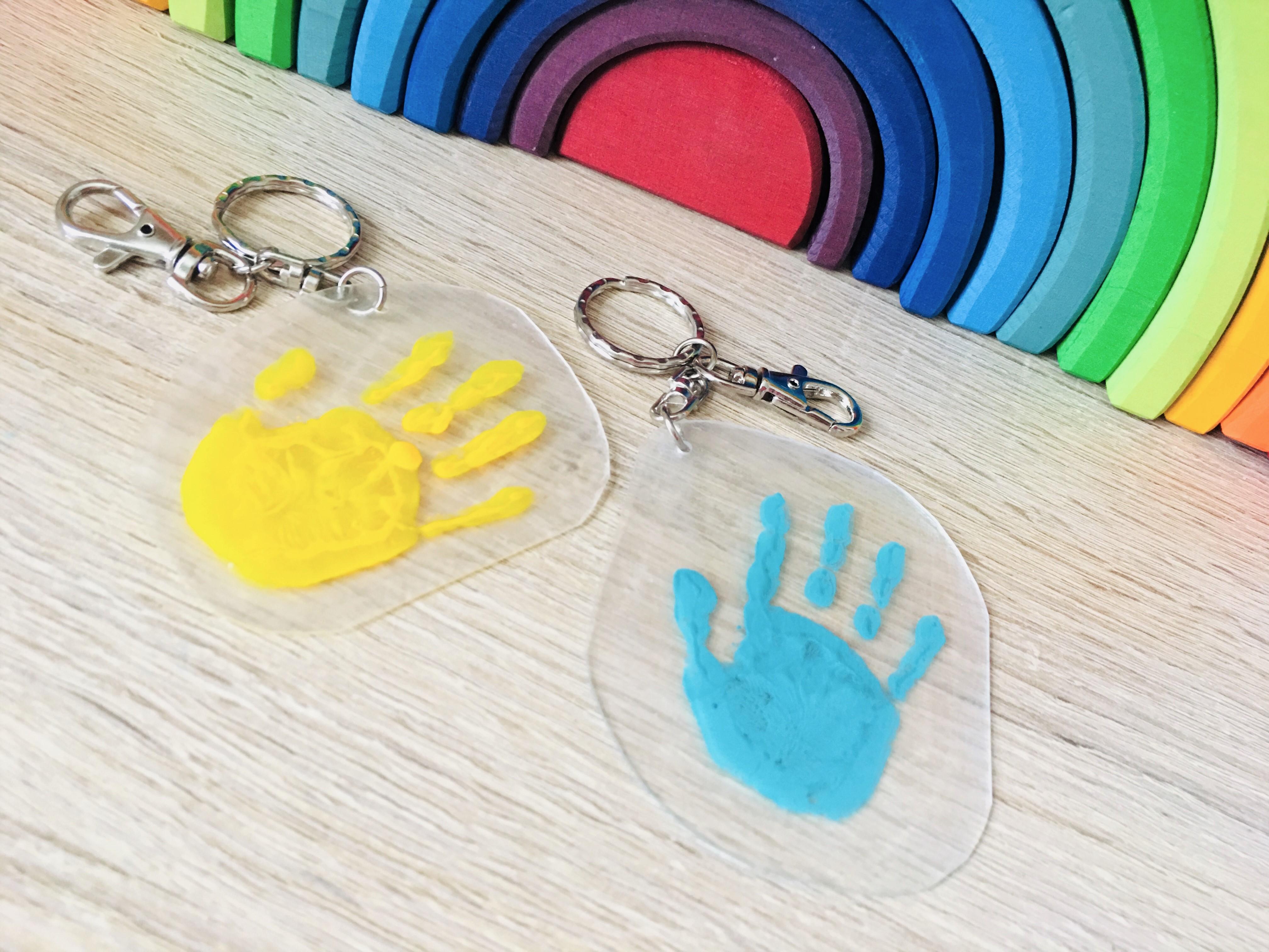 Handabdruck Schlüsselanhänger Basteln Mit Schrumpffolie