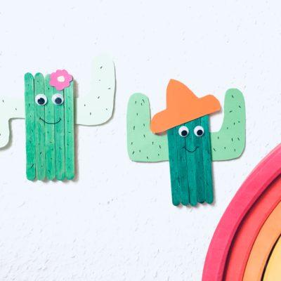Kaktus aus Eisstielen basteln – Basteln im Sommer