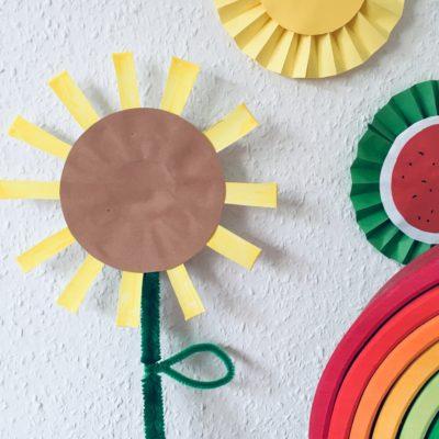 Sonnenblume aus Pappbecher basteln