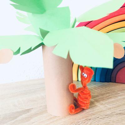 Palme aus Toilettenpapierrolle – Basteln im Sommer