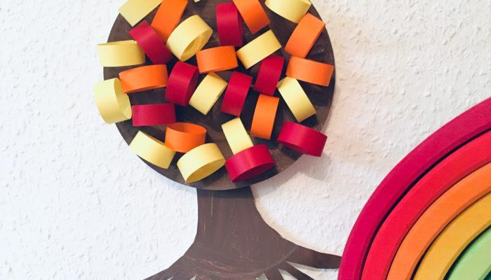 Bunter Herbstbaum aus Pappteller – Basteln im Herbst