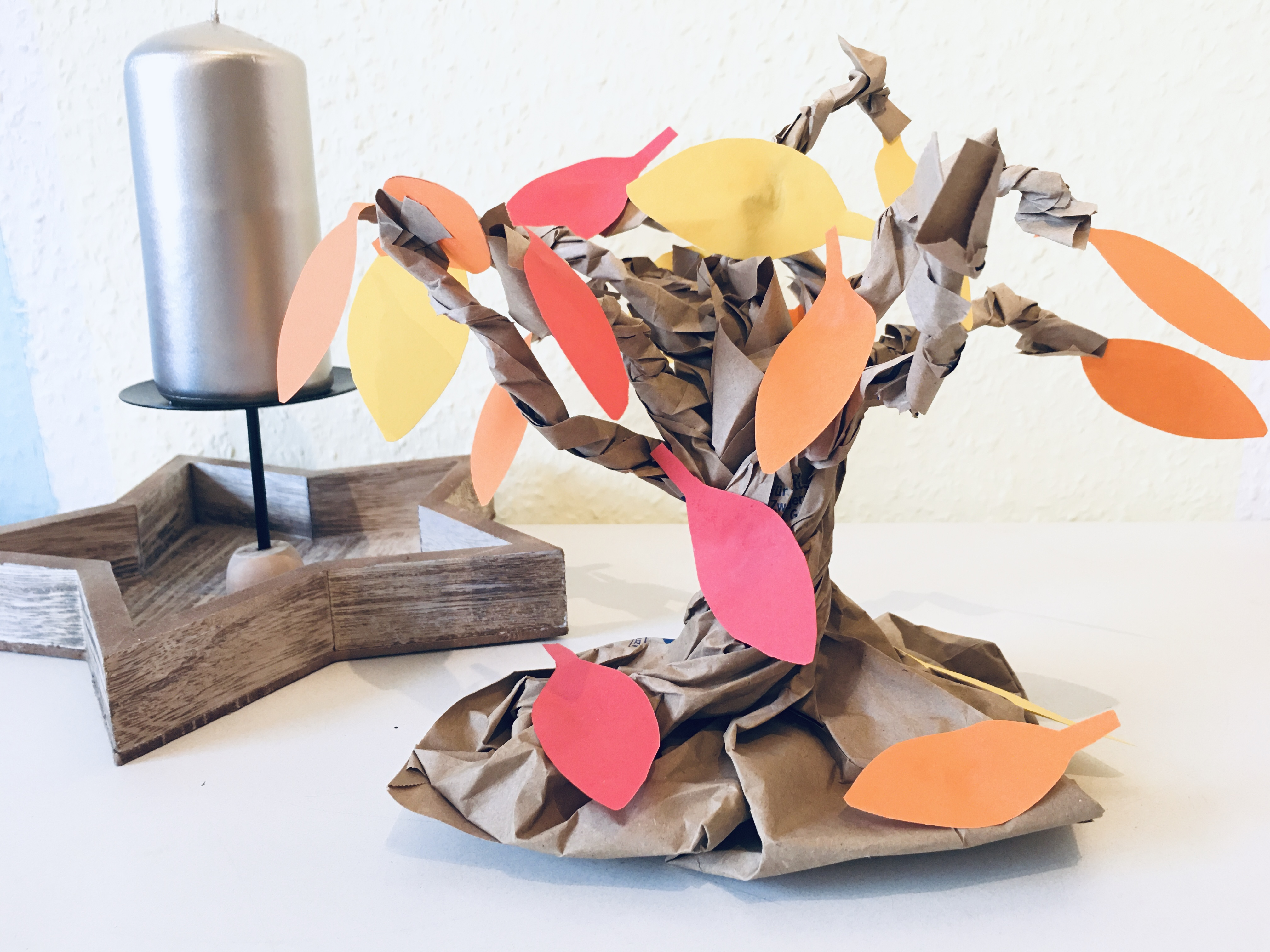 Herbstbaum Aus Papier Basteln Upcycling Im Herbst Der