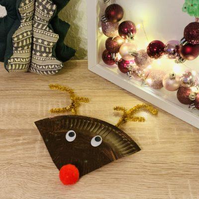 Rudolph das Rentier aus Papptellern basteln – Basteln für den Advent