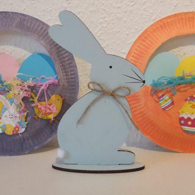 Osterkörbchen aus Papptellern mit Kindern basteln