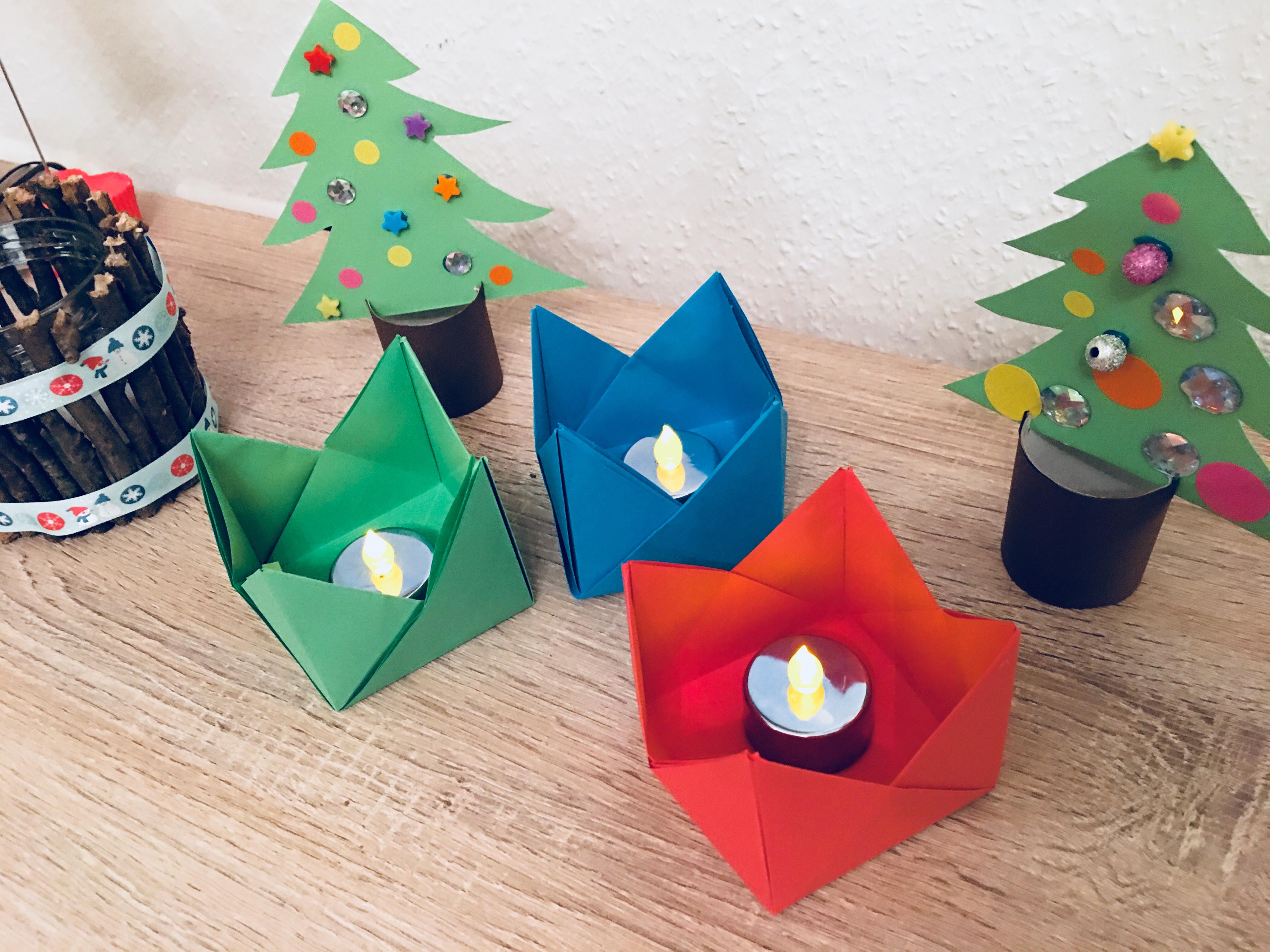 teelichthalter aus origami basteln mit kindern der. Black Bedroom Furniture Sets. Home Design Ideas