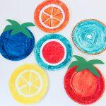 Obstsalat für die Wand – Basteln mit Pappteller