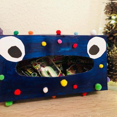 Monster aus Taschentuchbox – Basteln für Halloween für Kinder