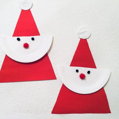 Einfacher Weihnachtsmann aus Pappteller – Basteln mit Kindern