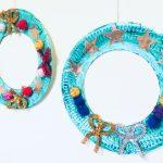 Geschmückter Adventskranz für die Tür – Basteln mit Pappteller