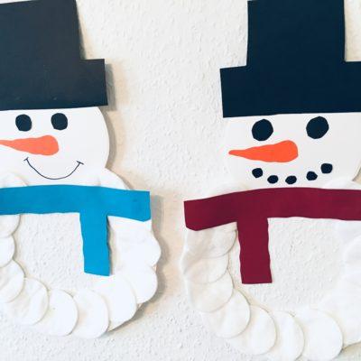 Schneemänner aus Pappteller – Basteln im Winter