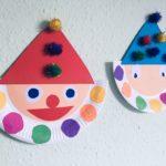 Clown aus Pappteller basteln – Basteln für Karneval