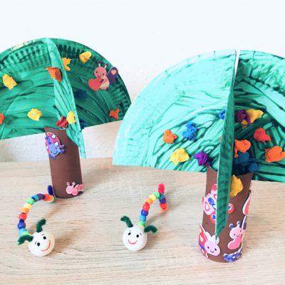 Frühlingsbaum aus Pappteller – Basteln mit Kindern