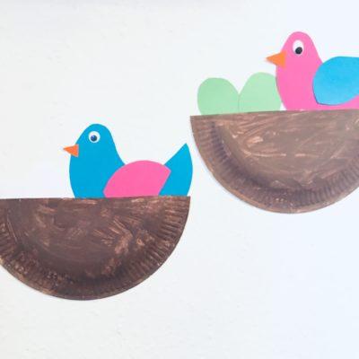 Vogelnest aus Pappteller – Basteln im Frühling