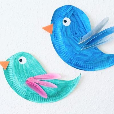 Vögel aus Pappteller basteln