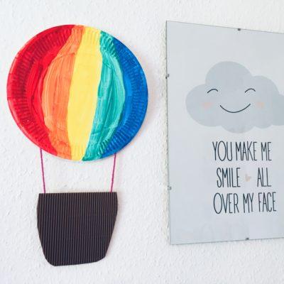 Heißluftballon aus Pappteller – Basteln mit Kindern
