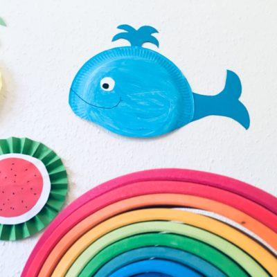 Wal aus Pappteller basteln – Meerestiere