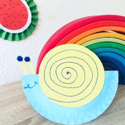 Schaukelschnecke aus Pappteller – Basteln mit Kindern