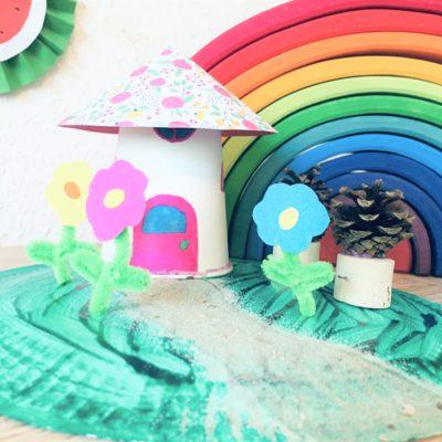 Feengarten aus Pappteller und Pappbecher – Basteln mit Kindern