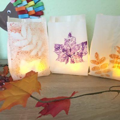 Tolle Herbst Windlichter mit Kindern basteln