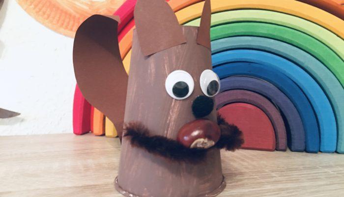 Eichhörnchen aus einem Pappbecher Basteln – Basteln im Herbst