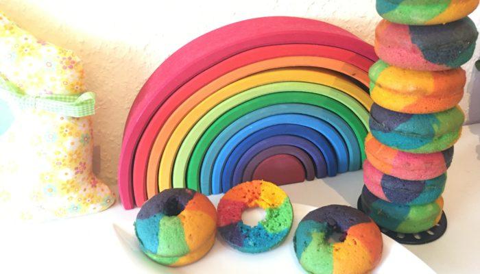 Regenbogen Donuts backen